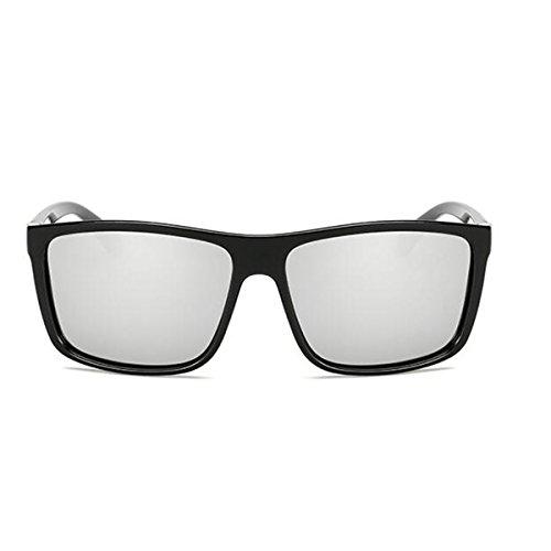 carrée corne Noir de vintage plat Blanc réfléchissant Argenté pour lunettes femmes polarisée Tukistore de bordé soleil couleur les Brillant hommes lentille grande miroir 8fHzOqn