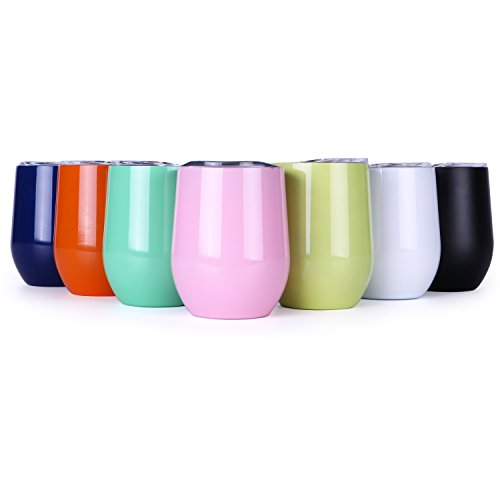Wine Cup,12oz Wine Tumbler Stemless Glass Insulated Stainless Steel Coffee Tumbler Cup with Lid for Wine, Coffee, Champagne, Drinks, Cocktails