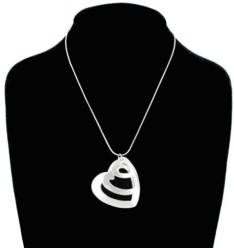- Necklace Pendant 3 Hearts Silver Tone Matte Snake Chain Necklace For Women