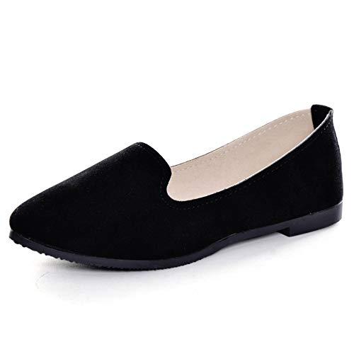 Slduv7 Women Pointed Comfortable Flat Ballet Shoes Black 42(9)