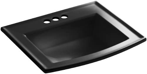 KOHLER K-2356-4-7 Archer Self-Rimming Bathroom Sink with 4-Inch Centers, Black Black