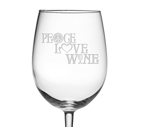 Peace Glass - Fineware Peace, Love & Wine 19 oz Wine Glass Etched with Peace Symbol, Heart, Wine Glass Design