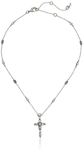 "Sorrelli  ""Crystal Clear"" Delicate Cross Pendant Necklace, 17"" + 4""extender"