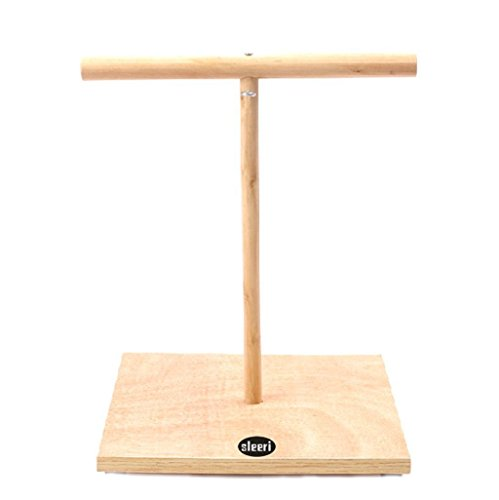 (sleeri Small Parrot Bird Pet Perch Stand Parakeet Wood Standing Gym Training Grinding Toy Playstand Holder (S))