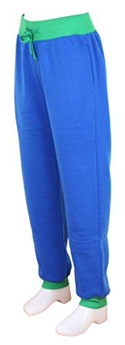 Pantalones Deportes jogging Mujer Pantalones Gym Sweapant en color unido y bicolor Azul real /verde