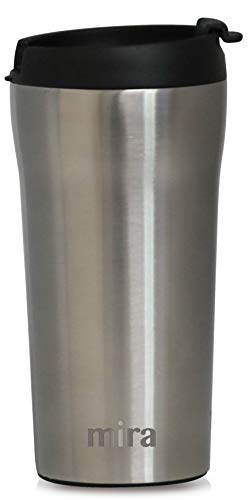 MIRA 12 oz Stainless Steel Insulated Travel Mug for Coffee & Tea | Vacuum Insulated Car Tumbler Cup with Spill Proof Twist On Flip Lid | Thermos Keeps Drinks Steaming Hot or Ice Cold | Stainless Steel