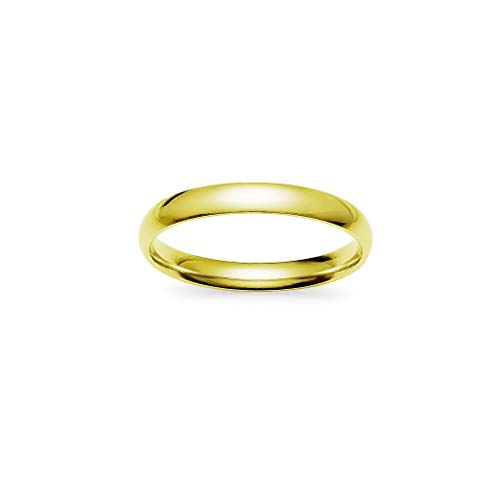 IJewel - Stackable Wedding Bands | 3mm Ring in Stainless Steel Yellow Gold Tone Size 7
