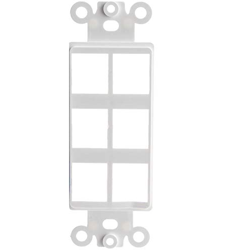 GOWOS Decora Wall Plate Insert, White, 6 Hole for Keystone Jack - Inline UTP LAN Modular Patch Stand Punch Down Panel