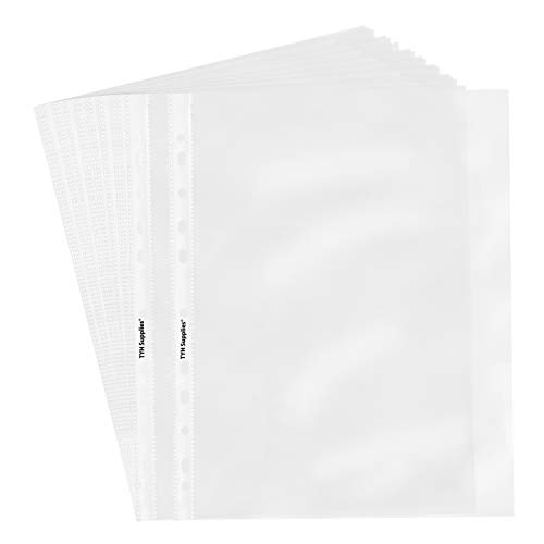 TYH Supplies 50 Pack Heavyweight Clear Sheet Protectors 8.5 x 11 Inch Top Loading Non Vinyl Acid Free 11 Hole