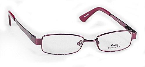 ES115 Metal Rectangular Eye Glasses Full Frame (Burgundy, - Frames Discounted Eyeglass