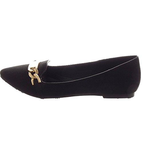 Sopily - Zapatillas de Moda Bailarinas Tobillo mujer Hebilla metálico Talón Tacón ancho 1 CM - Negro