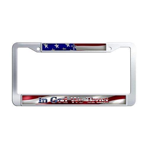 Framespolishisf in God We Trust License Plate Frame Holder Stainless Steel Thin Blue Line Cross USA Flag License Tag Holder ()