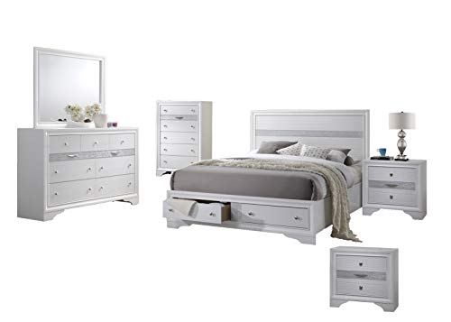 Best Quality Furniture CATH-Q4NC Catherine 6PC Queen Bed + Dresser + Mirror + 2 Nightstands + Chest, White
