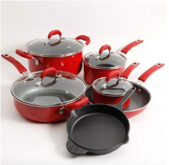 The Pioneer Woman Vintage Speckle 10-piece Non-stick Pre-seasoned Cookware Set, Linen Dishwasher Safe … (RED)