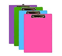 Bazic Standard Size PVC Clipboard with Low Profile Clip, Assorted Colors, 6-Pack