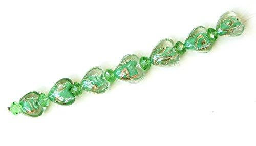 Linpeng LHS-10 Swirl Heart Lampwork and Crystal Beads Strand, 7-Inch, Light ()