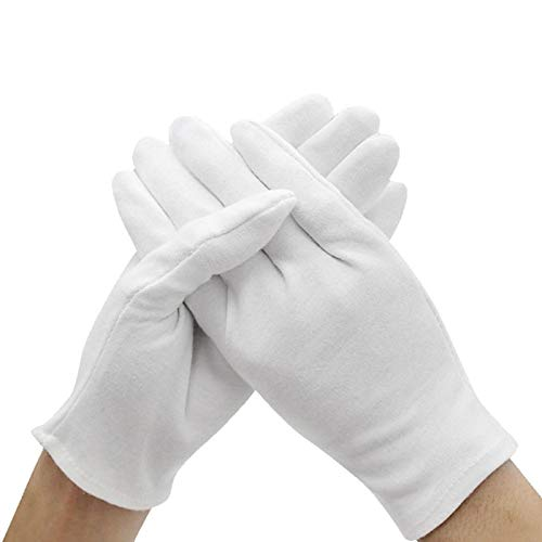 Golden Store129 Household Gloves 6 Pairs White Gloves Inspection Cotton Work Gloves Jewelry Lightweight Hight Quality