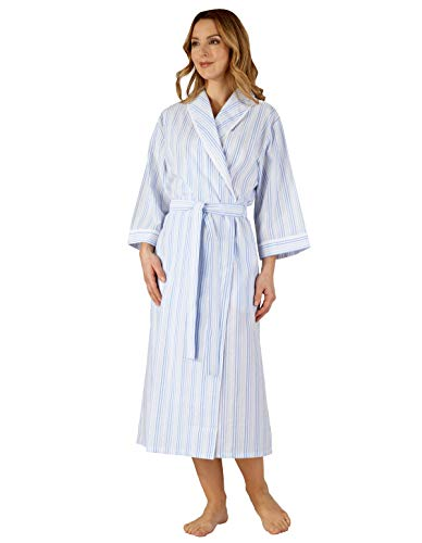 Hc3226 Slenderella Woven Striped Women's Blue Gown Dressing Robe 8wTw7qd4x