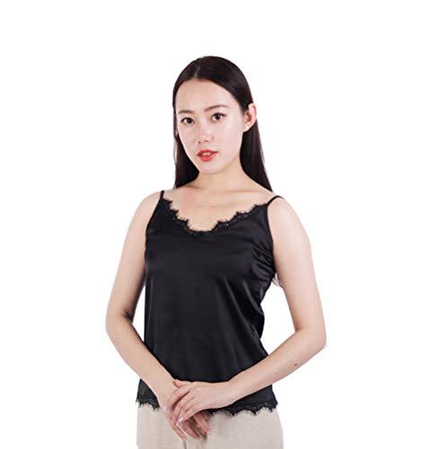 Stretch Silk Shirt - Women's Sleeveless Shirt V-Neck Silk Camisole Stretch Loose Halter Solid Top Shirt (XL, Black)