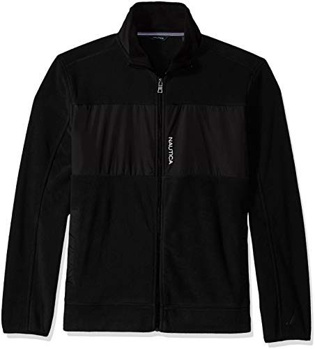 Nautica Men's Full-Zip Mock Neck Fleece Sweatshirt, True Black, ()