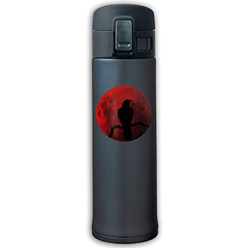 Crow Red Moon Stainless Steel Vacuum-Insulated Mug - BPA Free - Water Bottle With Bounce Cover -