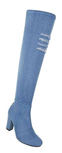 Damen Schuhe Overknee Stiefel Used Optik High Heels Hellblau