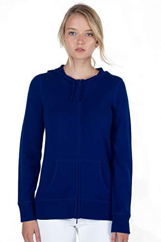 JENNIE LIU Women's 100% Pure Cashmere Long Sleeve Zip Hoodie Cardigan Sweater(M, Midnight) ()