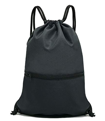 HOLYLUCK Men & Women Sport Gym Sack Drawstring Backpack Bag - Black]()