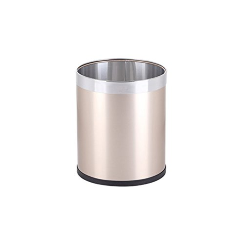 LQQGXL Recycle bin Stainless Steel Trash can, Household paperless 篓 (Color : Gold, Size : 13L) ()