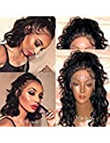 Fushen Hair 13x6 Lace Front Wig Human Hair Short Wigs for Black Women 150 Denisty Wavy Glueless Full Lace Front Wigs with Bleached Knots Baby Hair 8A Virgin Human Hair Bob Wigs(16inch, lace front wig)