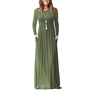 DEARCASE Women Long Sleeve Loose Plain Maxi Pockets Dresses Casual Long Dresses