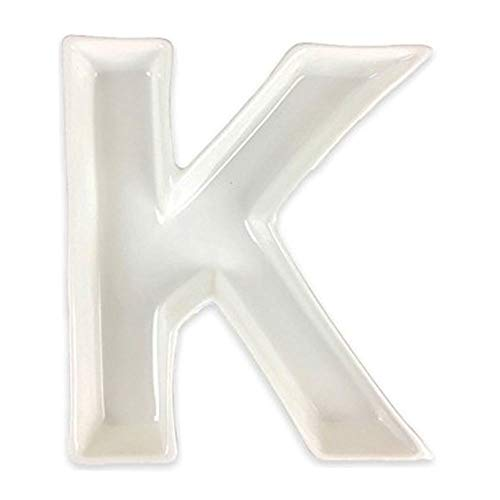 - Just Artifacts - 5.5inch White Ceramic Letter Dish - Letter: K - Decorative Dishes for Weddings, Anniversarys, Baby Showers, Birthday Parties and Life Celebrations!