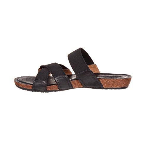 4eursole Brume De Printemps Femmes Sandale Plate Noire Sandale - Rkh176