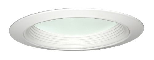 Juno Lighting 2130B-WH 5-Inch Baffle with Regressed Frosted Dome Lens, Black with White Trim -