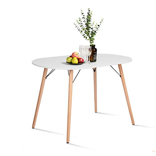 CozyCasa Farmhouse Dining Table Mid-Century Kitchen Table with Wood Tube Oval Top for Home Office Patio White(Only Table…