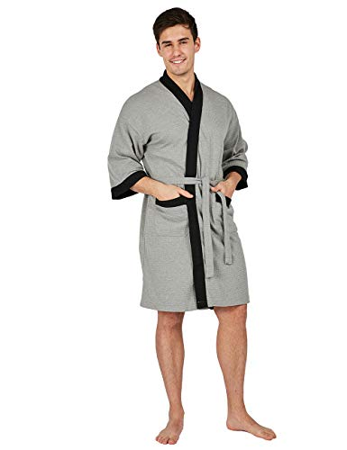 c0a31a5ce3 YIMANIE Men s Waffle-Weave Kimono Robe Cotton Spa Bathrobe Lightweight Soft  Knee Length Sleepwear
