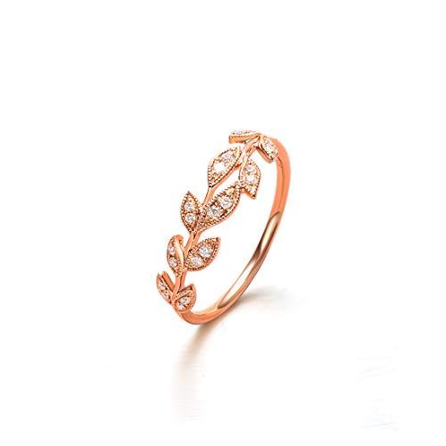(Carleen 18k Solid Rose Gold 0.10ct Diamond Eternity Branch Leaf Ring For Women Girls(5))