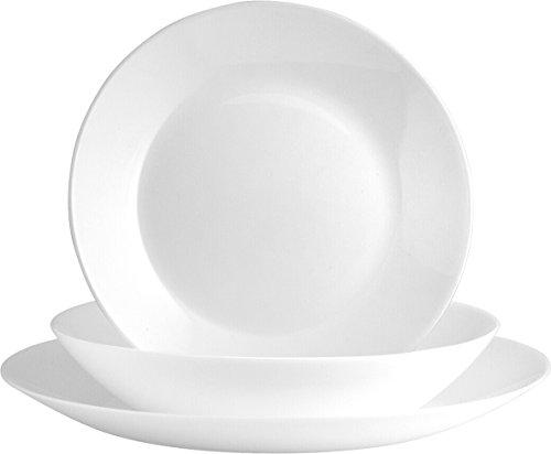 Arcopal Luminarc Zelie Servizio Tavola 18 Pezzi, Opale, Bianco