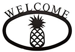 "Pineapple Welcome Sign, Wrought Iron, Small Version, 11.5"" X 8.0"""