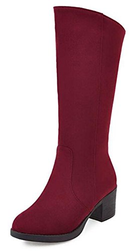 IDIFU Womens Fashion Faux Suede Mid Calf Riding Boots With Mid Heels Red YmpaiYUk