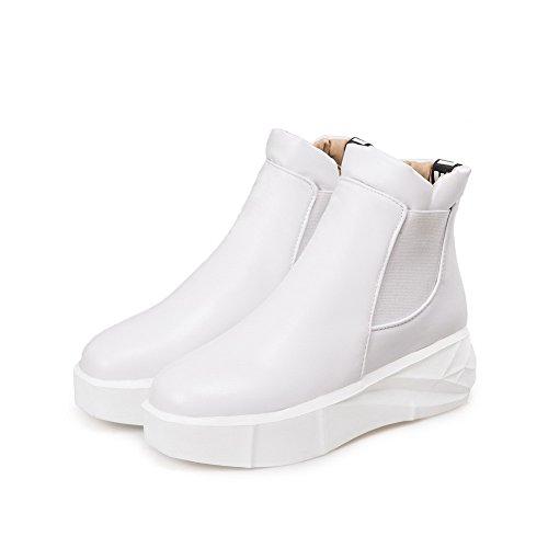 on Kitten Toe Heels Pull Closed AgooLar PU Women's Solid White Boots Round 1zCwWaqR