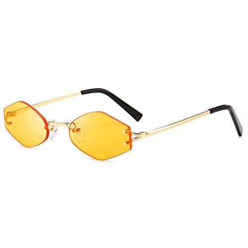 de Aiweijia Gafas sin Gafas sol de Red de sol pequeñas mujer de Amarillo sol Red con moda marco gafas Gafas rT7wrqC