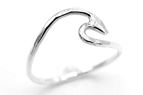 (Kolohe Ocean Gems Perfect for Her | Womens Fine Silver | Textured Wave Ring | Handmade in Hawaii | Sizes 7)