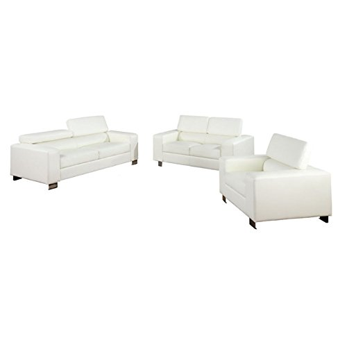 Furniture of America Bloomsbury 3-Piece Bonded Leather Match Sofa Set, (Bloomsbury Leather)