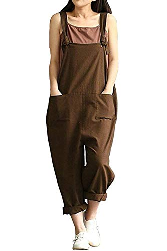 Women Plus Size Overalls Linen Wide Leg Jumpsuits Vintage Baggy Pants Casual Rompers (3XL, Coffee)