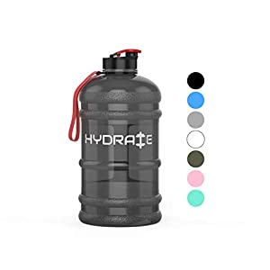 HYDRATE 2.2 Litre Water Bottle – Now With Easy Drink Cap – Durable & Extra Strong – BPA Free – Ideal for: Gym, Dieting, Bodybuilding, Outdoor Sports, Hiking & Office