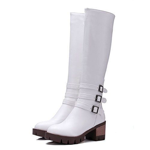 Toe AmoonyFashion Kitten Heels White Round Solid Zipper Top Boots Mid Closed Women's 080OqUB