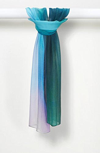 Zen Dreams Sunset Pure Silk Chiffon Scarf in Sea Breeze by Louis Jane  (''Where Nature Meets Art''TM)