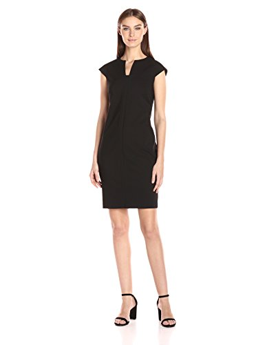Calvin Klein Women's Compression Fabric Cap Sleeve Sheath Dress, Black, 2 by Calvin Klein
