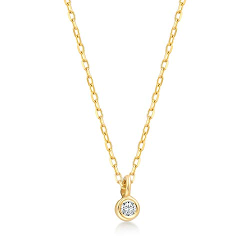 GELIN 14k Solid Gold 0,01 ct Diamond Solitaire One Bead Chain Necklace for Women, 18